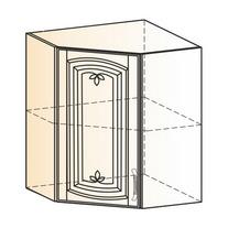 Венеция Шкаф навесной угл L600х600 H720 (1 дв. гл.) 2017 (белый/ясень патина золото)