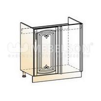 Венеция Шкаф рабочий под мойку угл. L800 (1 дв. гл.) 2017 (белый/ясень патина золото)