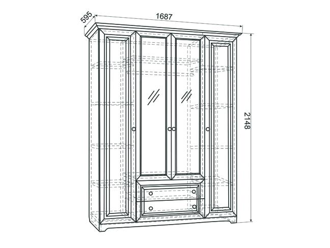 Белла Шкаф 4-створчатый (белый/джелато софт)