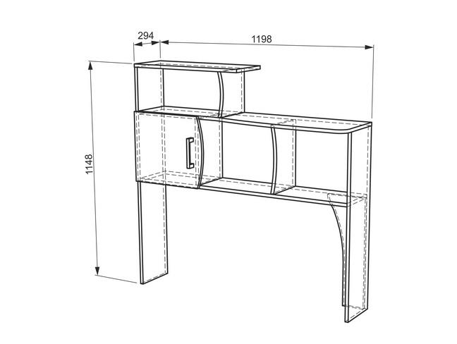 Манхэттен Надстройка стола компьютерного 1200 (ясень шимо т./ясень шимо с./капучино)