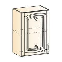 Венеция Шкаф навесной L500 H720 (1 дв. гл.) 2017 (белый/ясень патина золото)
