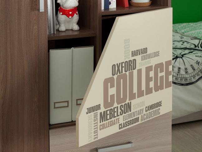 Колледж Шкаф комбинированный (ясень шимо т./ясень шимо с./крем)
