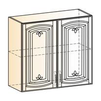 Венеция Шкаф навесной L800 H720 (2 дв. гл.) 2017 (белый/ясень патина золото)