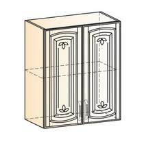 Венеция Шкаф навесной L600 H720 (2 дв. гл.) 2017 (белый/ясень патина золото)